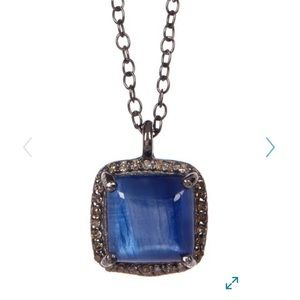 Kyanite Diamond Halo Pendant Zora Necklace 0.50 cz